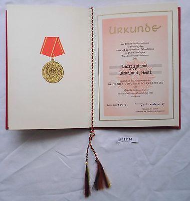 DDR Urkunde Medaille für 20 Jahre treue Dienste Ministerium des Innern (111114) 0