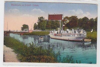 68642 Ak Lötzen Wendehafen mit Schloß und Ausflugsdampfer um 1910