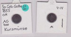 1/2 Groschen Silber Münze Sachsen-Coburg-Gotha 1855 F (121219)