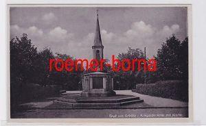 80680 Ak Gruß aus Gröditz Kriegerdenkmal mit Kirche um 1940