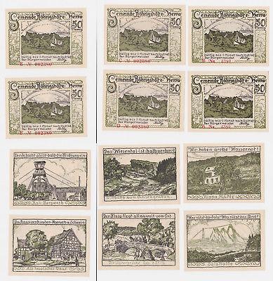 6 Banknoten Notgeld Gemeinde Röhrigshöfe an der Werra o.D. (1922) (122328)
