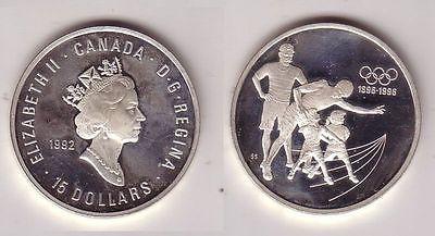 15 Dollar Silbermünze Kanada100 Jahre Olympische Spiele 1896-1996 (105358)