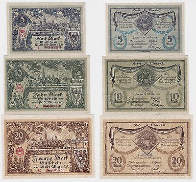 5, 10 und 20 Mark Banknoten Notgeld Stadt Ulm 1918 (120716)