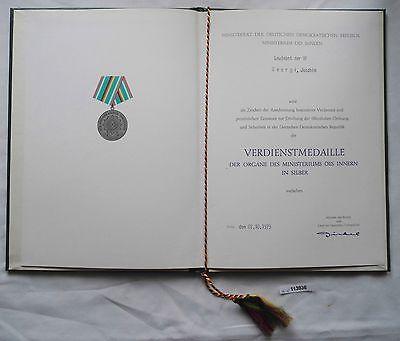 DDR Urkunde Verdienstmedaille des Ministerium des Innern in Silber 1979 (113936)