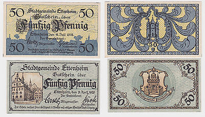 2 x 50 Pfennig Banknoten Notgeld Stadt Ettenheim 1918/1920 (122523)