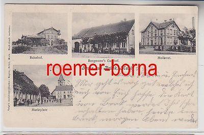 73643 Mehrbild Ak Gruß aus Brück Mark Bahnhof Gasthof Molkerei Marktplatz 1906