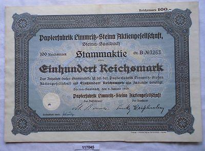 Aktie 100 Mark Papierfabrik Limmritz Steina 2.Januar 1929 (117045)
