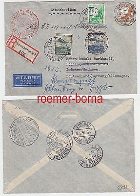 79624 Zeppelin Einschreiben Brief Europa Nordamerika 29.04.1936