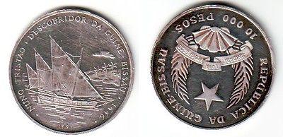 10000 Pesos Silber Münze Guinea Bissau Segelschiff 1991 (111595)