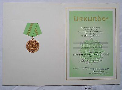 DDR Urkunde Medaille für treue Dienste Polizei in Gold (112640)