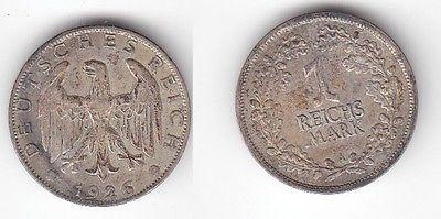 1 Reichsmark Silber Münze Weimarer Republik 1926 A 114304 Nr