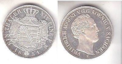 1 Taler Silber Münze Sachsen Friedrich August v.G.G. 1851 PP  (112009)