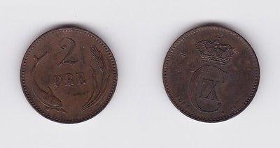 2 Öre Kupfer Münze Dänemark 1891 (122161)