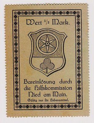 1/2 Mark Banknote Notgeld der Hilfskommission Nied am Main um 1917 (120919)