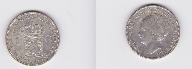 1 Gulden Silber Münze Niederlande 1929 (120186)