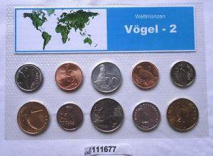 Blister mit 10 Weltmünzen mit Vogel Motiven (111677)