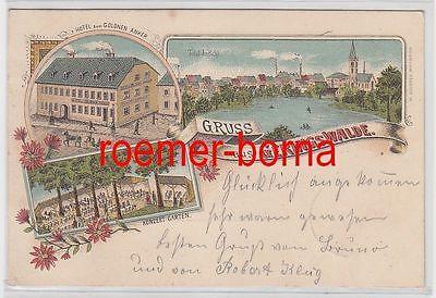 77756 Ak Lithographie Gruß aus Geringswalde Hotel zum goldenen Anker 1900