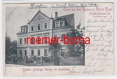 74561 Ak Gruß aus dem Restaurant Alfred Haufe Dresden Trachenberge 1906