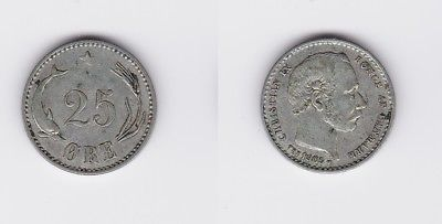 25 Öre Silber Münze Dänemark 1905 (118387)