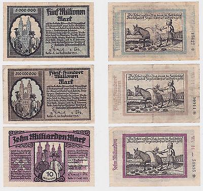3 Banknoten Hallesche Pfännerschaft A.G. Halle 1923 (121426)