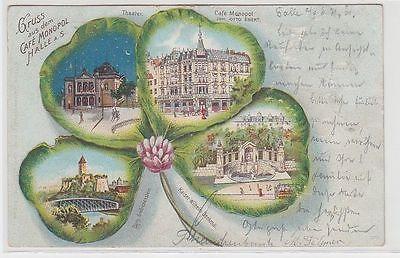 71580 Ak Lithographie Gruss aus dem Café Monopol Halle a.S. 1901