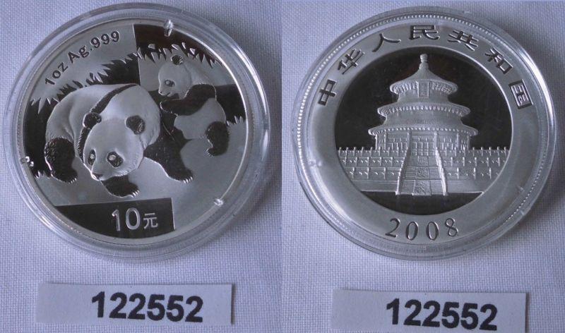 10 Yuan Silber Münze China Panda 1 Unze Feinsilber 2008 Stgl