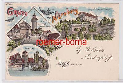 84366 Ak Lithografie Gruss aus Nürnberg 1898