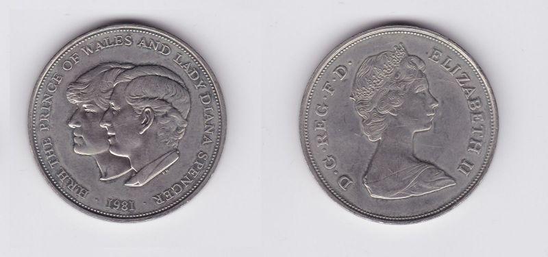 5 Schilling Crown Nickel Münze Großbritannien Hochzeit Diana 1981
