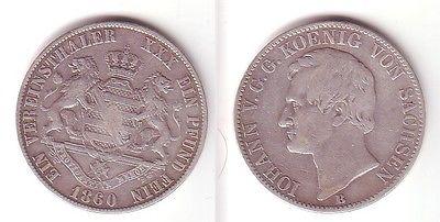 1 Vereinstaler Silber Münze Sachsen 1860 B (104951)