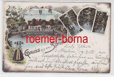 74691 Ak Lithografie Gruss aus dem Spreewald Lehde Gasthaus Z. fröhl. Hecht 1899