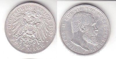 5 Mark Silbermünze Württemberg König Wilhelm Ii 1907 Jäger 176