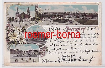 80809 Ak Lithografie Gruss aus Roitzsch Bahnhof usw. 1898