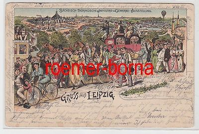 77199 Ak Lithografie Gruss aus Leipzig Industrie- u. Gewerbe-Ausstellung 1897