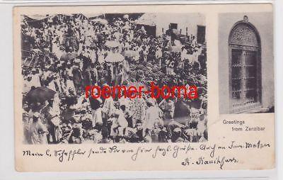 85298 Mehrbild Ak Greetings from Zanzibar Sansibar 1901