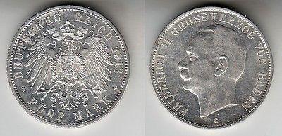 5 Mark Silbermünze Baden Großherzog Friedrich II 1913 Jäger 40  (102894)
