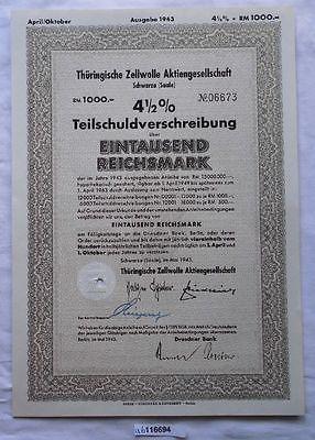 Aktie Thüringische Zellwolle AG Schwarza Saale Mai 1943 (116694)