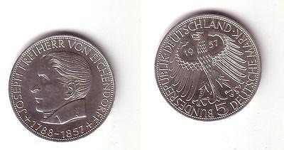 BRD Gedenk Münze 5 Mark Freiherr von Eichendorff 1957 (BN8416)