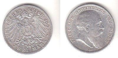 2 Mark Silbermünze Baden Großherzog Friedrich 1907 Jäger 32  (112027)