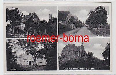 69409 Mehrbild Ak Gruß aus Tzschecheln Kr. Sorau Bäckerei usw. um 1930