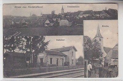28298 Mehrbild Ak Gruß aus Niederstinzel in Lothringen Bahnhof usw. um 1920