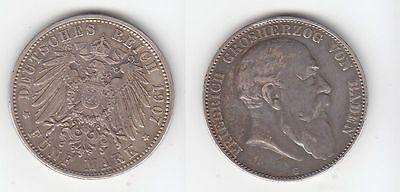 5 Mark Silbermünze Baden Großherzog Friedrich 1907 Jäger 33  (110818)