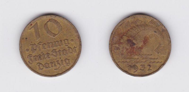 10 Pfennig Messing Münze Danzig 1932 Dorsch Jäger D 13 (120230)