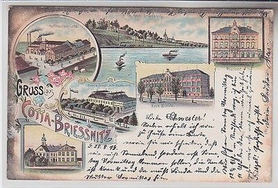 72410 Ak Lithografie Gruss aus Cotta-Briessnitz Hofbrauhaus, Schule, Post 1899