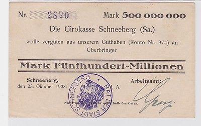 500 Millionen Mark Banknote Girokasse Schneeberg Arbeitsamt 23.10.1923 (122586)