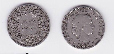 20 Rappen Kupfer Nickel Münze Schweiz 1881 B 118613 Nr