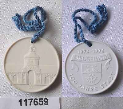 Seltene DDR Porzellan Medaille 100 Jahre Stadt Meuselwitz 1974 (117659)