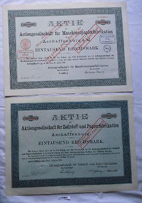 2 Aktien Aschaffenburg Zellstoff- & Papierfabrikation 1921 (114540)