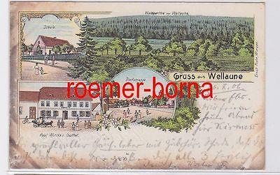 80567 Ak Lithografie Gruss aus Wellaune Schule, Gasthof, Dorfstrasse 1906