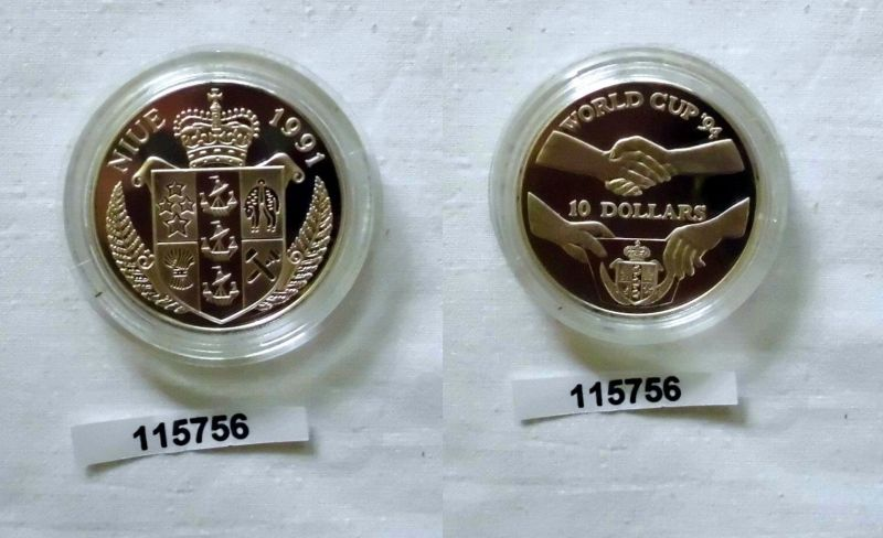 10 Dollar Silber Münze Niue 1991 Fussball World Cup 1994 115756 Nr