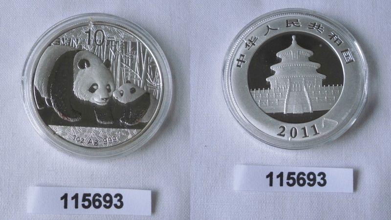10 Yuan Silber Münze China Panda 1 Unze Feinsilber 2011 Stgl. (115693)